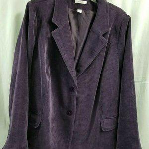 Dress Barn Corduroy Purple Jacket Blazer Size 24W